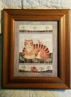 Framed Primitive Country Cat Art Orange Tabby with bird