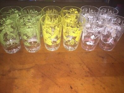 12 Vintage 1950's Davy Crockett Welch's Jelly Glasses