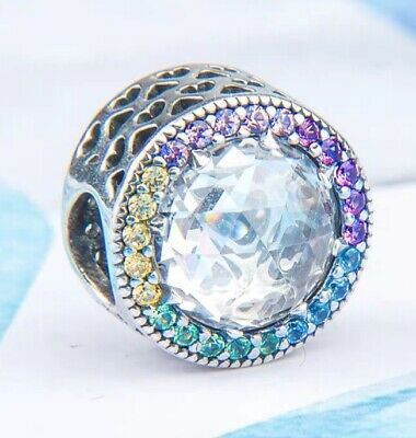 Authentic Pandora Silver Bead Radiant Hearts Multi-Color Charm 791725