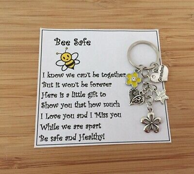 Stay Safe, Be Safe & Healthy, I Miss You BEE Keyring Gift 🐝 🐝
