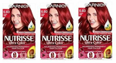 3 X Garnier Nutrisse Ultra Colour Permanent Hair Dye 6.60 Fiery Red