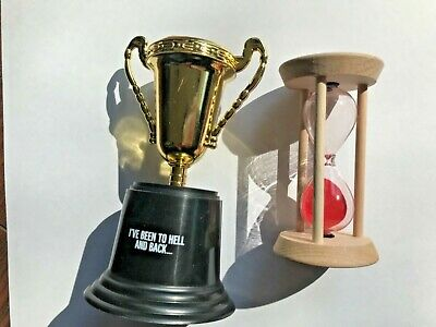 Paqui One Chip Challenge Trophy and Hour Glass