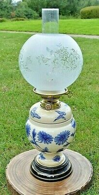 Victorian Hinks Duplex Oil Lamp. Blue & White Taylor Tunnicliffe Ceramic Base.