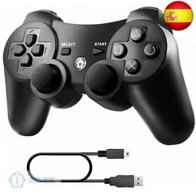 Diswoe Mando Inalámbrico PS3, Bluetooth PS3 Gamepad Controller Doble  (negro1)