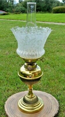 Victorian Hinks Duplex Oil Lamp. Brass Ribbed Base. Etched Glass Shade.