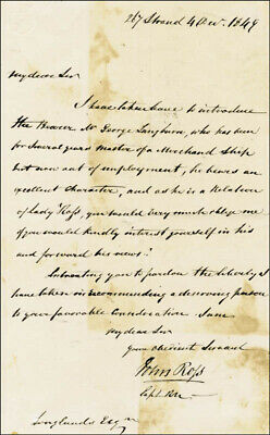 Sir John Ross - Manuscript Letter Signed 12/04/1849