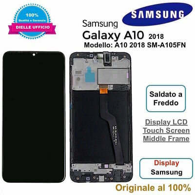 Display LCD Touch Screen Frame Samsung Galaxy A10 2018 SM-A105FN ORIGINALE Nero