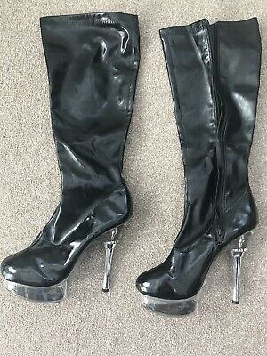 Pleaser Electra 2028 Patent Flame Knee