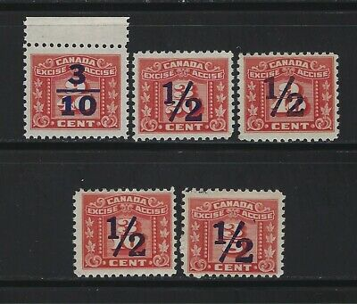 Canada - Excise Tax Overprint Mint Stamps Mlh Mnh