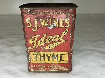Vintage SJ WINES IDEAL BRAND THYME SPICE TIN 2 oz LITHO CAN - FULL of THYME