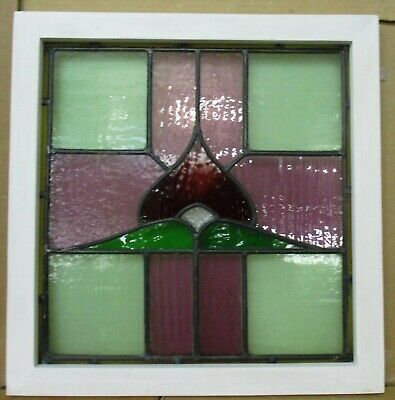 "OLD ENGLISH LEADED STAINED GLASS WINDOW Pretty Colorful Cross 20.5"" x 21"""