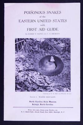 Early 1900's Poisonous Snakes of Eastern US+ First Aid Guide Pamphlet 10¢  C344