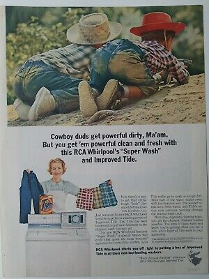 1963 Tide detergent RCA Whirlpool dryer boys dirty bottom blue jeans Cowboys ad