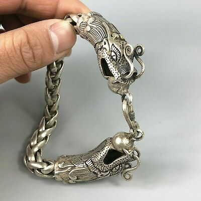 Collectible Tibet Silver Handwork Dragon Amulet Bracelet Exquisite Chinese Rare