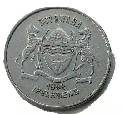 Botswana Km29 1998 Xf-Super Fine-Nice Old Vintage 50 Thebe Bird Coin