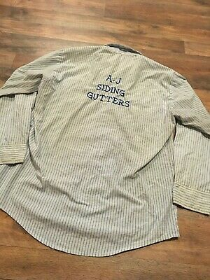 Vintage 1960 Men's Embroidered Handyman Protexall Uniform Shirt Large Snap Front