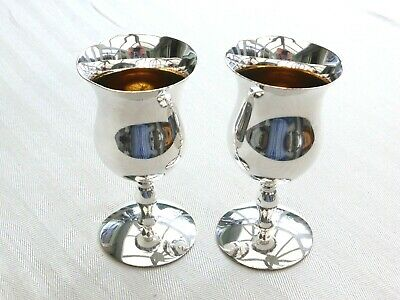 Pair Of Angora Vintage Silver Plated Sherry Goblets    1530068/072