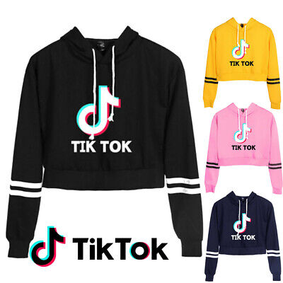 Boys Girls Tik Tok Hoodie Exposed Navel Hooded Sweatshirt Pullover Jumper Coat