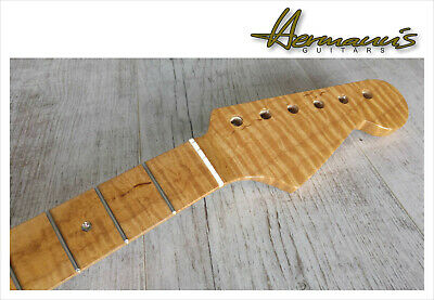 Stratocaster One Piece Roasted Curly Flamed Maple Neck, Abalon Dots, 22 Frets/20