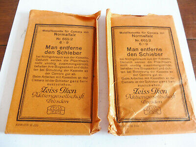 ANTIQUE 2 UNUSED OLD STOCK ZEISS IKON PHOTGRAPIC  PLATES No 665/2 6X 9