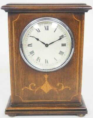 Quality Superb French 8 Day Mantel Clock Solid Mahogany Wood Art Deco Top Mantle