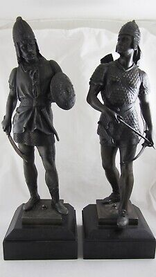 Antique Pair of English Spelter Statues figures Visigoth Warriors German Soldier