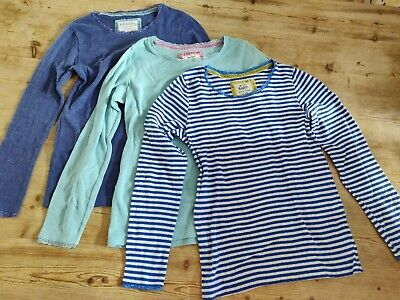 Jonnie Boden Girls  Pointelle Tops x3 Age 11-12 years Blue White Aqua Stripes