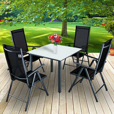 Aluminium Table Chairs Garden Set 4 and 1 Glass Top Foldable Chairs outdoor
