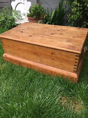 Antique Pine Wooden Trunk
