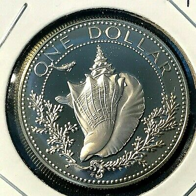 1974 Bahamas Conch Silver Dollar Proof Brilliant Uncirculated Coin