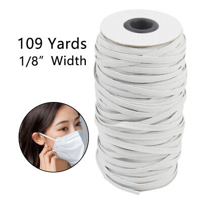 QUALITY White Black Flat Elastic Cord 3mm 6mm For Sewing face Masks thin narrow