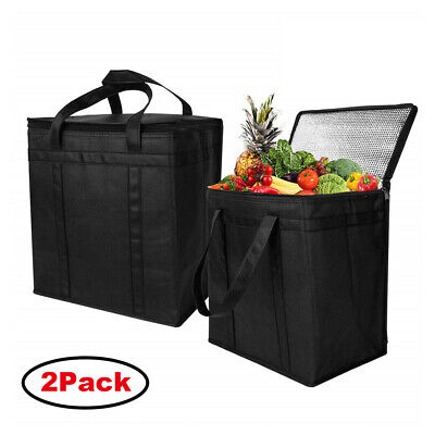 2Pcs Reusable Insulated Grocery Bags Eco-friendly Non-woven Thermal Cooler Tote