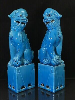 """PAIR Antique Chinese Republic Period Porcelain Turquoise Foo Dogs Lions 12-3/4"""""""
