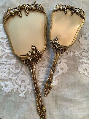 Vintage Gold VANITY SET Lilly of the Valley MIRROR BRUSH 2 Pc Ormolu