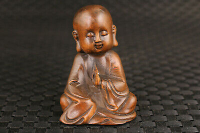 lovely collection chinese old boxwood hand carved buddha  statue decoration