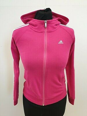 Gg774 Girls Adidas Pink White Full Zip Tracksuit Jacket Hoodie Age 9-10 Years