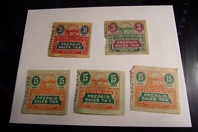 Vintage Lot of 5 1950's Prepaid Consumer Sales Tax Stamp Ohio 3, 15, 30 Cents