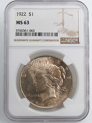 1922 Peace Silver Dollar Ngc Ms63 61063