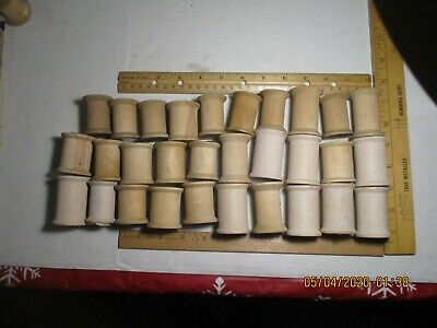 Lot of 30 Vintage Wooden Thread Spools Crafting Primitive Craft Decoration