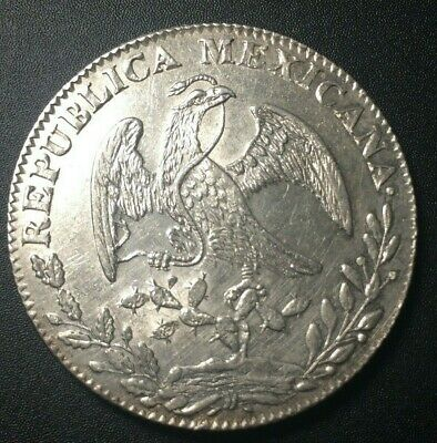1845 🔥 Mexico Go PM Large 8 Reales Silver Coin KM 377.8 ✨ AU+ UNC 🌞 8R