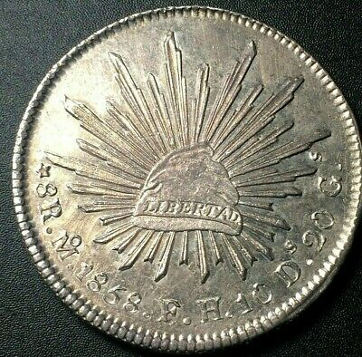 1858 🔥 Mexico Mo FH Large 8 Reales Silver Coin KM 377.10 ✨ UNC 🌞 Toned 8R