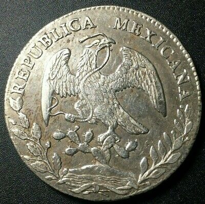 1848 🔥 Mexico Mo GC Large 8 Reales Silver Coin KM 377.10 ✨ AU++ 🌞 8R
