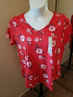 SONOMA Goods For Life NWT Size XXL Red with Flowers Top