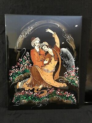 Beautiful Marquetry Or Persian Moaraq Lacquer Painting on heavy wood Signed