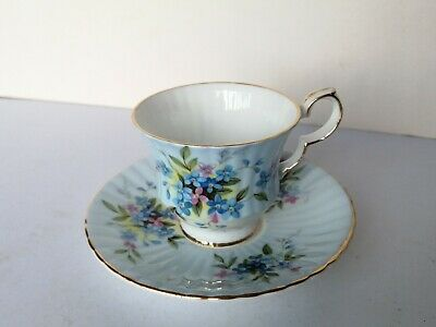 Vintage Royal Windsor Bone China Cup and Saucer England Blue/Pink Flowers