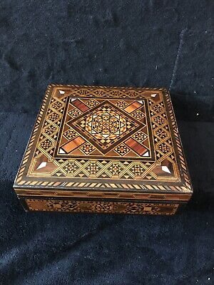Vintage Wood Parquet Marquetry multipurpose Box with Mother of Pearl inlay
