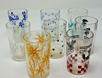 """Vintage Libbey Juice Glasses Assorted Styles 4"""" Set of 8 Wheat Flowers Rooster"""