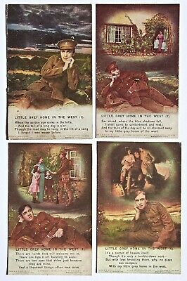 Bamforth Song Cards Set 4871 - 'Little Grey Home in the West' WW1 postcards