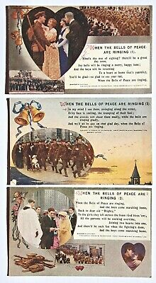 Bamforth Song Cards Set 5023 - 'When the Bells of Peace Ringing' WW1 postcards
