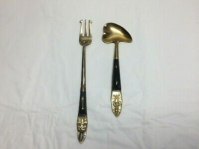 Antique Chinese Hong Kong Flatware Silverware Carved Horn & Brass 2 Pieces